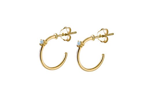 Stardust blue topaz hoop earrings gold plated 925