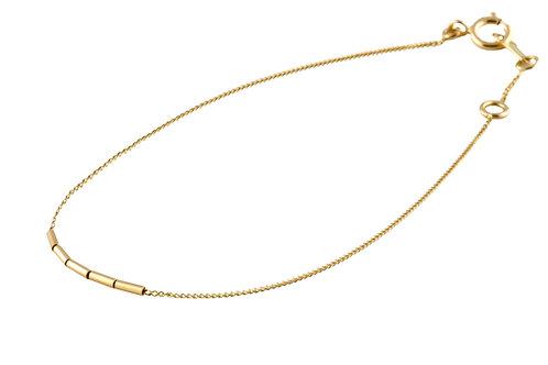 Tube bracelet golden brass