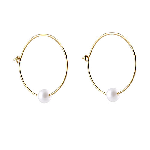 gold plated 925 silver hoop earrings Ø20mm freshwater pearls