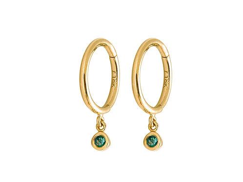 Emeralds Tassel 18k gold huggies