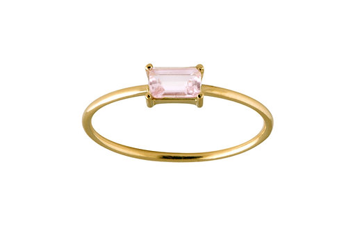Baguette pink tourmaline ring L 18k gold