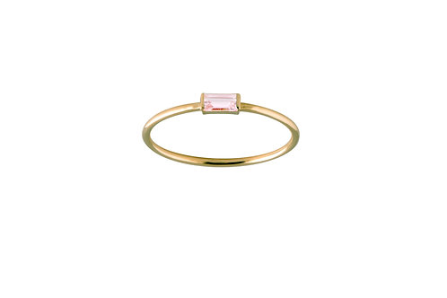 Baguette pink tourmaline ring S gold plated 925
