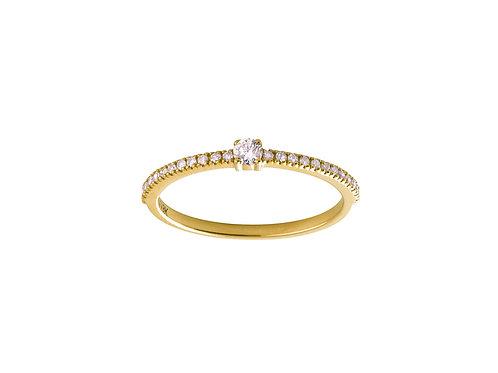 Diamonds Halo 18k gold ring
