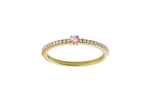 Pink sapphires & diamonds Halo 18k gold ring