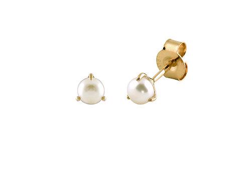 Prong-set Pearl 18k gold earrings