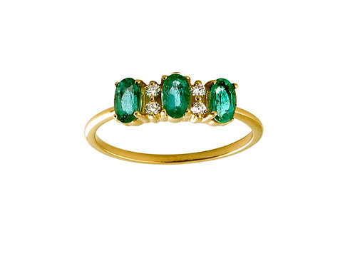 Emeralds & diamonds Lauré 18k gold ring