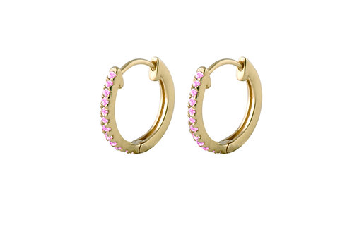 Pleiad pink tourmalines Huggies L Ø10mm gold plated 925