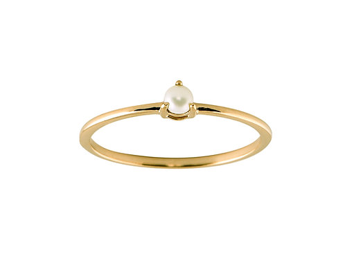 Pearl medium Solitaire 18k gold ring