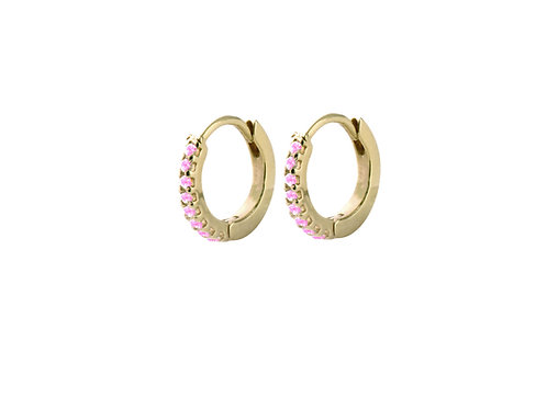 Pleiad pink tourmalines Huggies S Ø8mm gold plated 925 silver