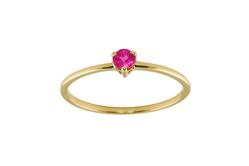 Ruby medium Solitaire 18k gold ring