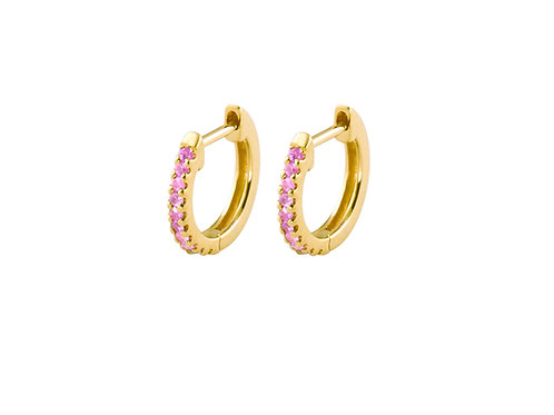 Pink sapphires Pleiad 18k gold huggies