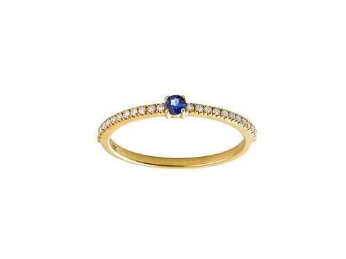 Blue sapphire & diamonds Halo 18k gold ring