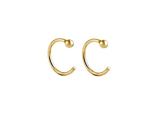 Ring hoop earrings gold plated 925 silver