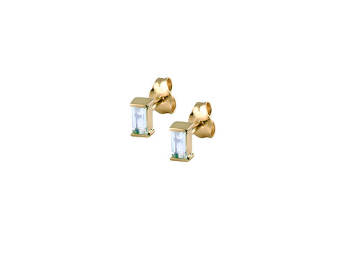 Baguette blue topaz earrings gold plated 925 silver