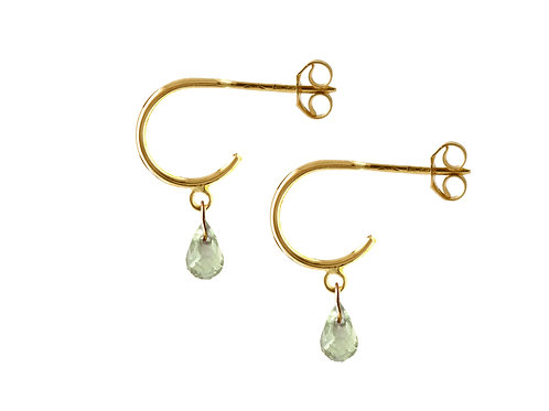 Briolette green sapphires hoop earrings 18k gold