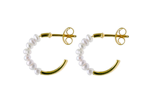 Pearl half hoop earrings freshwater pearls gold plated 925 silver