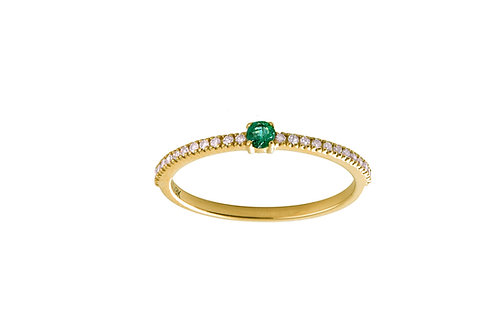 Emerald & diamonds Halo 18k gold ring