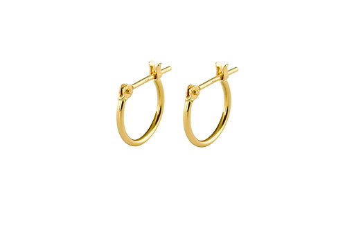 Curve tiny 18k gold hoop earrings