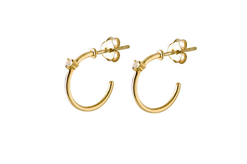 Stardust white topaz hoop earrings gold plated 925 silver