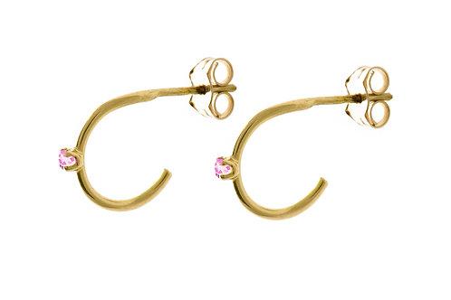 Constellation pink sapphires mini hoop earrings 18kt gold