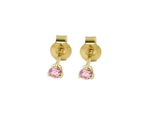 Pink sapphires  18k gold stud earrings