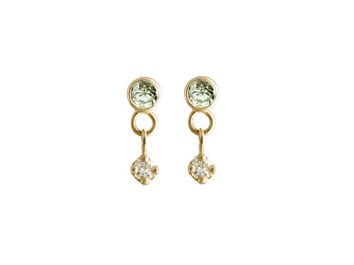 Constellation green sapphires & diamonds earrings 18k gold