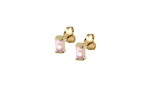 Baguette pink tourmalines earrings gold plated 925 silver