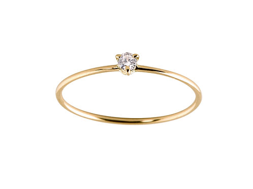 Diamond small Solitaire 18k gold ring