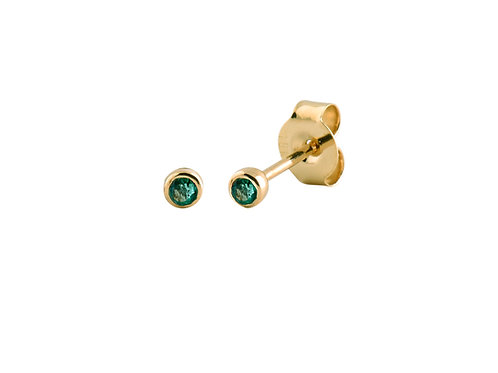 Gold Gold plated 925 silver emeralds bezel stud earrings
