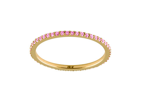 Pink sapphires Eternity 18k gold ring