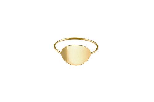 Ellipse ring 2 golden brass