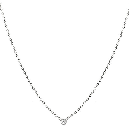 Solitaire necklace 1 diamond 18kt gold