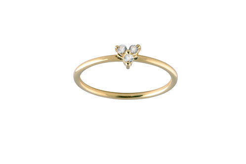 Leaf white topaz ring gold plated 925 silver
