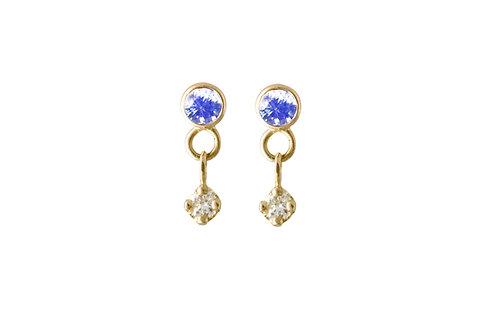 Constellation blue sapphires & diamonds earrings 18k gold