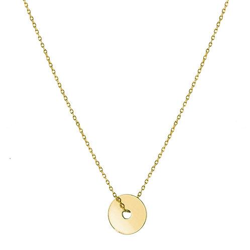 Disc necklace golden brass