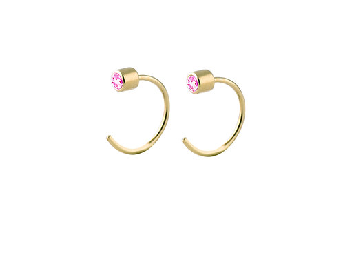 Boreal pink tourmalines earrings gold plated 925 silver