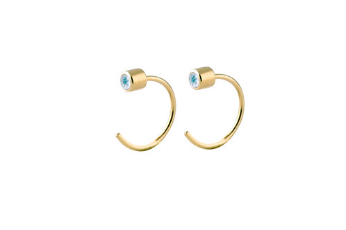 Boreal blue topaz earrings gold plated 925 silver
