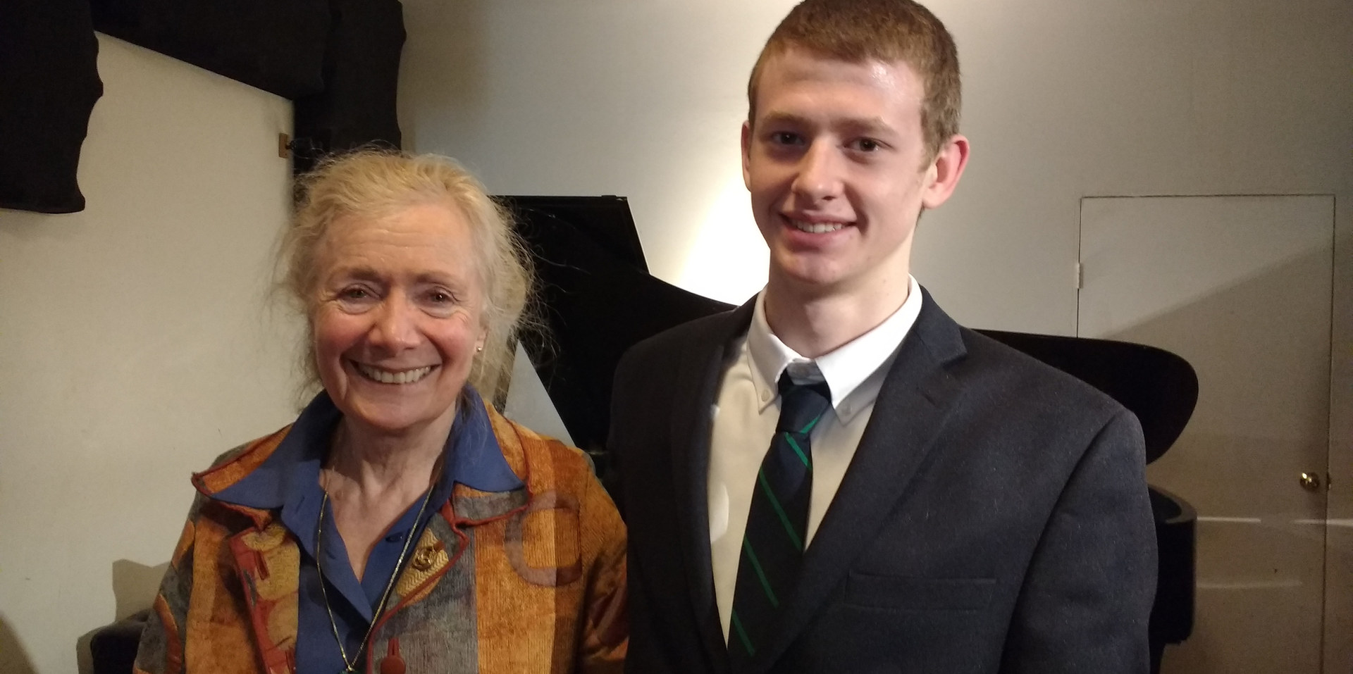 "Tom with renowned pianist Barbara Nissman. He played Ginastera, ""Malamblo"" for her!"
