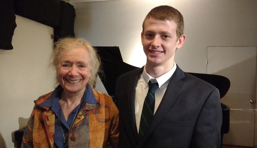 "Tom with renowned pianist Barbara Nissman. He played Ginastera, ""Malamblo"" for her!"