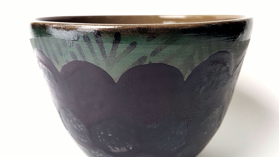 Forage Bowl, Forest Spriggs with Matte Black Scalloped Glaze
