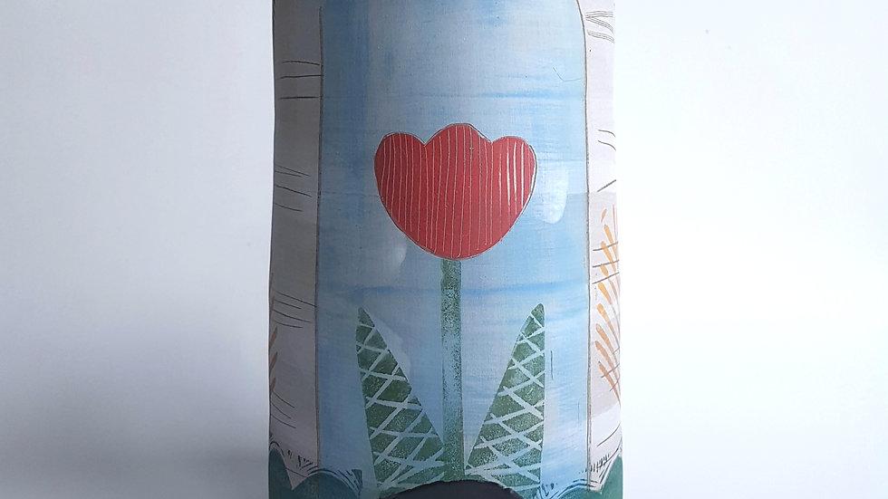 Tulip & Red Berries vase