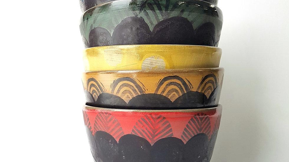 Forage Bowl: Red Scallop with Matt Black Glaze