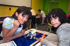 Students with robot