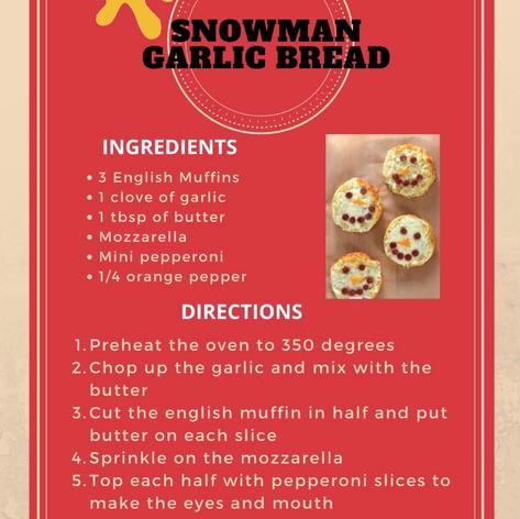 Snowman Garlic Bread