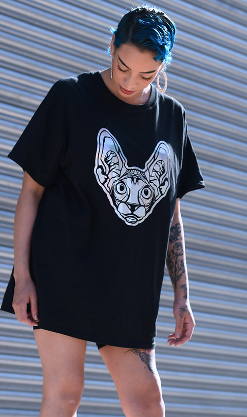 SPHYNX FACE HOLOGRAPHIC GRAPHIC PRINT T-SHIRT TEE