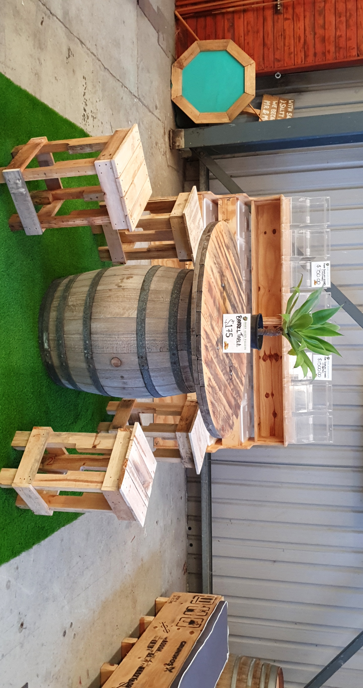 Wine Barrel Table & Pallet Stools