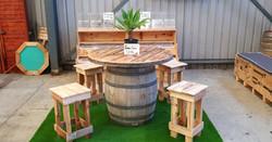 Wine Barrel Table & Pallet Stools