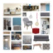 Das Moodboard zeigt die Idee der Farbgestaltung und der Einrichtung auf