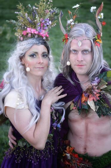 Lori Olsen as Titania and Tyson Chanitcleer as Oberon