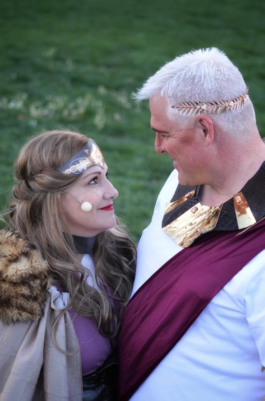Brad Christensen as Theseus and Barb Christensen as Hippolyta